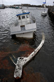Barco afundado na canaleta de Sheepsheadbay Foto de Stock Royalty Free