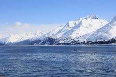Barco, agora montanha, mar fotos de stock