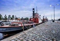 Barco amarrado en Tampere, Finlandia Foto de archivo libre de regalías
