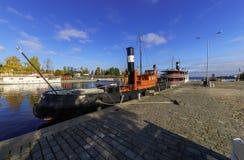 Barco amarrado en Tampere, Finlandia Imagen de archivo libre de regalías
