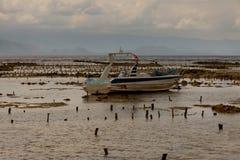 Barco amarrado na praia Fotos de Stock