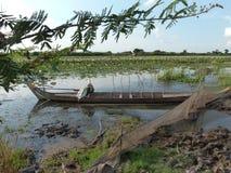 Barco asiático de madera de la canoa en asiático Lily Pond Imágenes de archivo libres de regalías