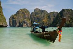 Barco atado longo, Tailândia Imagens de Stock Royalty Free