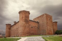 The Barco of Avila castle or Valdecorneja is a castle from the 12th century that is located dominating the river Tormes, at the. Highest point of the valley, in stock photo