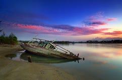 Barco azul de la hora Foto de archivo