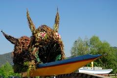 Barco colorido na cidade pequena de Battaglia Terme na província de Pádua no Vêneto (Itália) imagem de stock royalty free
