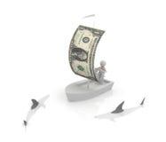 Barco com uma vela de um dólar Fotografia de Stock Royalty Free