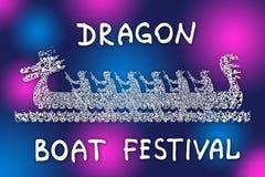 Barco con los remeros Festival de barco de drag?n Dibujo simbólico de la historieta en colores de los brights ilustración del vector