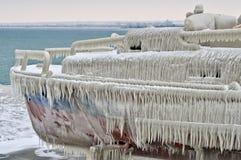 Barco congelado Foto de archivo libre de regalías