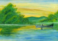 Barco da aguarela no lago Ilustração Royalty Free