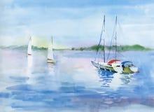 Barco da aquarela na ilustração do vetor da água do rio Imagens de Stock Royalty Free