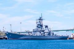 Barco da Armada e museu da segunda guerra mundial de USS Iowa imagens de stock royalty free