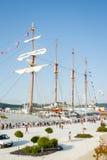 Barco da Armada espanhol, Juan Sebastian Elcano, entrado nos bes do porto Fotografia de Stock