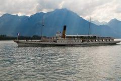 Barco da excursão no lago Genebra Foto de Stock Royalty Free