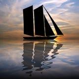 Barco da silhueta ilustração royalty free
