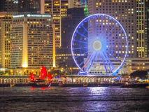 Barco da sucata e roda de ferris vermelhos Fotos de Stock Royalty Free