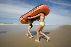 Barco de borracha com pés Imagens de Stock