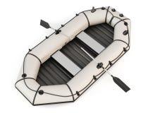 Barco de borracha inflável com os remos no fundo branco Imagens de Stock Royalty Free