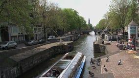 Barco de canal azul en Amsterdam en un día soleado con las palomas almacen de metraje de vídeo