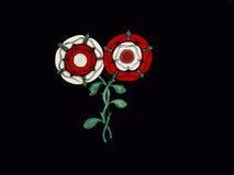 Barco de canal con las rosas rojas y blancas de Lancashire y de Yorkshire en el canal de Leeds Liverpool en Burnley Lancashire Foto de archivo