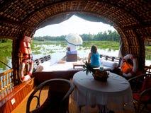 Barco de casa en Kerala, la India Fotos de archivo libres de regalías