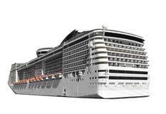 Barco de cruceros aislado en blanco Imágenes de archivo libres de regalías