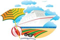 Barco de cruceros cerca de la playa Stock de ilustración