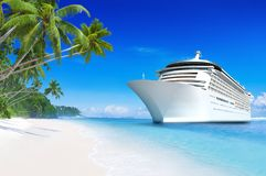 barco de cruceros 3D en un paraíso tropical de la playa en Samoa ilustración del vector