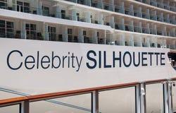 Barco de cruceros de la silueta de la celebridad Fotos de archivo libres de regalías