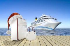 Barco de cruceros del viaje de la Navidad imagen de archivo