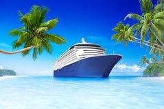 Barco de cruceros en el tiempo de verano stock de ilustración