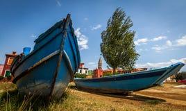 Barco de Fishermens en la isla de Murano Foto de archivo libre de regalías