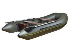 Barco de goma inflable hecho de PVC, dos-Seat, gemelo, con los remos. Foto de archivo libre de regalías