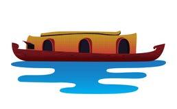 Barco de Kerala en el agua aislada stock de ilustración