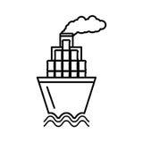 Barco de la nave con aceite de los barriles stock de ilustración