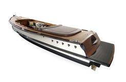 Barco de madeira com volante e painel Fotos de Stock Royalty Free