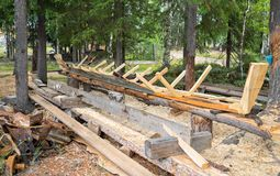 Barco de madeira de construção Fotos de Stock