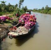 Barco de madeira no rio no delta de Mekong, Vietname do sul Imagens de Stock Royalty Free