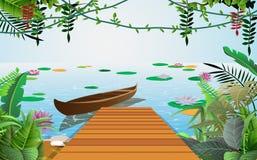 Barco de madera en el río libre illustration