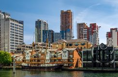 Barco de Marienborgh en Canary Wharf foto de archivo libre de regalías