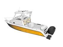 Barco de motor amarillo con la cabina Fotografía de archivo libre de regalías