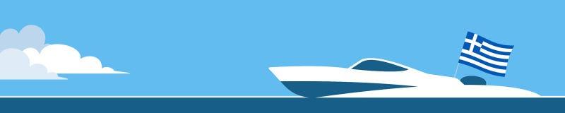 Barco de motor con la bandera de Grecia Imagenes de archivo