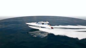 Barco de motor, el mejor yate italiano Silueta del hombre de negocios Cowering almacen de video