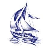 Barco de navegación con una bandera stock de ilustración