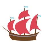 Barco de navegación Ejemplo plano del estilo del vector Foto de archivo libre de regalías