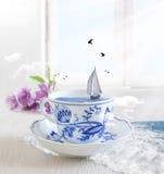 Barco de navegación en una taza de té con los pájaros imagen de archivo