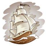 Barco de navegación que flota en superficie del agua. Cuesta del vector Imagenes de archivo