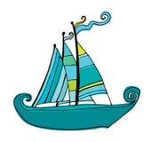 Barco de navegación lindo ilustrado Imagen de archivo libre de regalías