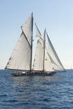 Barco de navigação antigo durante uma regata no clássico Yac de Panerai Foto de Stock