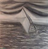 Barco de navigação cinzento no mar pesado, pelo  de Lovro BeraniÄ, 2016, 56x56cm, óleo na lona, Fotografia de Stock Royalty Free